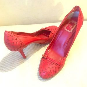 Christian Dior leather laser cut out heels shoes